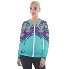 Blue Mandala Velour Zip Up Jacket