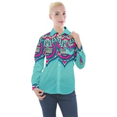 Blue Mandala Women s Long Sleeve Pocket Shirt