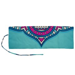 Blue Mandala Roll Up Canvas Pencil Holder (m)