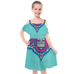 Blue Mandala Kids  Cut Out Shoulders Chiffon Dress