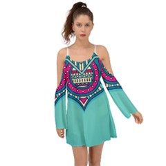Blue Mandala Kimono Sleeves Boho Dress