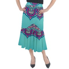 Blue Mandala Midi Mermaid Skirt