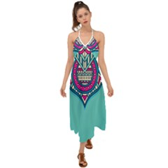 Blue Mandala Halter Tie Back Dress