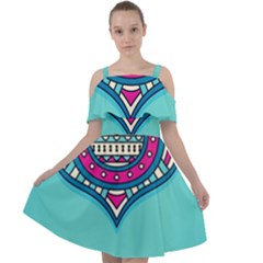Blue Mandala Cut Out Shoulders Chiffon Dress