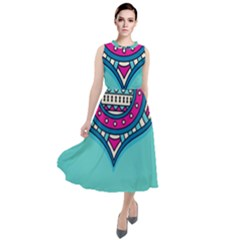 Blue Mandala Round Neck Boho Dress