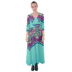 Blue Mandala Button Up Maxi Dress
