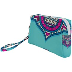 Blue Mandala Wristlet Pouch Bag (small)