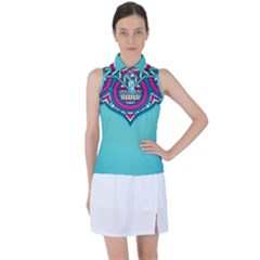 Blue Mandala Women s Sleeveless Polo Tee