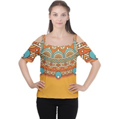 Sunshine Mandala Cutout Shoulder Tee