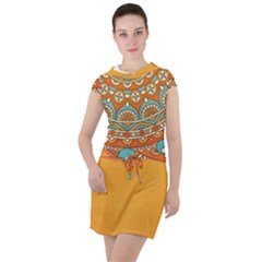 Sunshine Mandala Drawstring Hooded Dress
