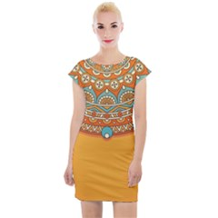 Sunshine Mandala Cap Sleeve Bodycon Dress