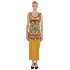 Sunshine Mandala Fitted Maxi Dress