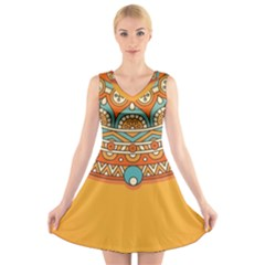Sunshine Mandala V-neck Sleeveless Dress