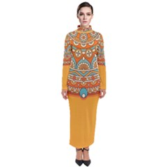 Sunshine Mandala Turtleneck Maxi Dress