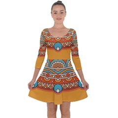 Sunshine Mandala Quarter Sleeve Skater Dress