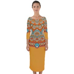 Sunshine Mandala Quarter Sleeve Midi Bodycon Dress