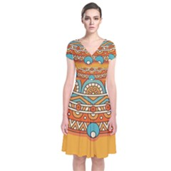 Sunshine Mandala Short Sleeve Front Wrap Dress