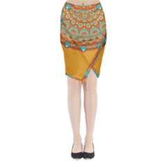 Sunshine Mandala Midi Wrap Pencil Skirt