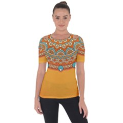 Sunshine Mandala Shoulder Cut Out Short Sleeve Top