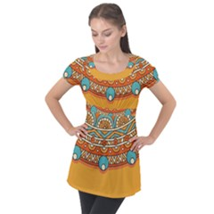Sunshine Mandala Puff Sleeve Tunic Top