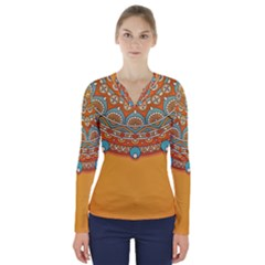 Sunshine Mandala V-neck Long Sleeve Top