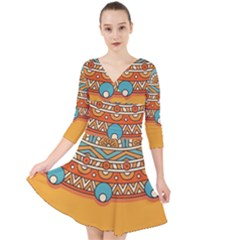 Sunshine Mandala Quarter Sleeve Front Wrap Dress