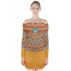 Sunshine Mandala Long Sleeve Off Shoulder Dress