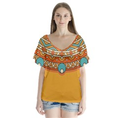 Sunshine Mandala V-neck Flutter Sleeve Top
