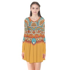 Sunshine Mandala Long Sleeve V-neck Flare Dress