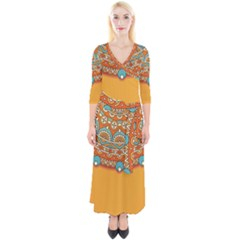 Sunshine Mandala Quarter Sleeve Wrap Maxi Dress