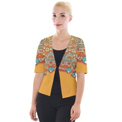 Sunshine Mandala Cropped Button Cardigan