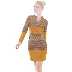 Sunshine Mandala Button Long Sleeve Dress