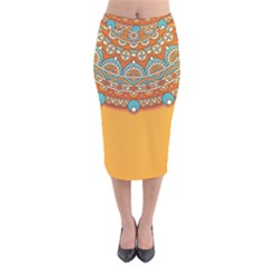 Sunshine Mandala Velvet Midi Pencil Skirt