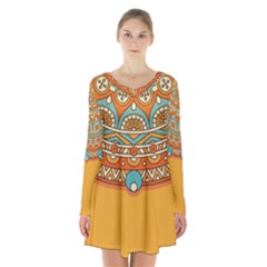 Sunshine Mandala Long Sleeve Velvet V-neck Dress