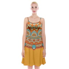 Sunshine Mandala Spaghetti Strap Velvet Dress