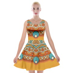 Sunshine Mandala Velvet Skater Dress