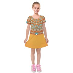 Sunshine Mandala Kids  Short Sleeve Velvet Dress
