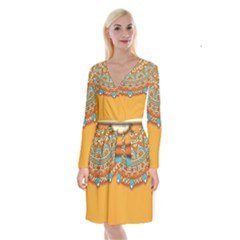 Sunshine Mandala Long Sleeve Velvet Front Wrap Dress