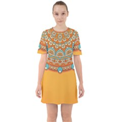 Sunshine Mandala Sixties Short Sleeve Mini Dress