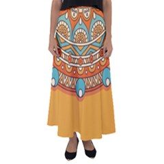 Sunshine Mandala Flared Maxi Skirt