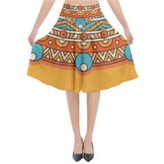 Sunshine Mandala Flared Midi Skirt