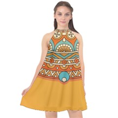 Sunshine Mandala Halter Neckline Chiffon Dress