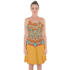 Sunshine Mandala Ruffle Detail Chiffon Dress