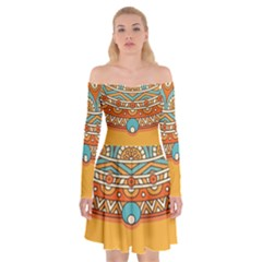 Sunshine Mandala Off Shoulder Skater Dress