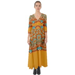 Sunshine Mandala Button Up Boho Maxi Dress