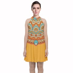 Sunshine Mandala Velvet Halter Neckline Dress