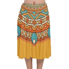 Sunshine Mandala Velvet Flared Midi Skirt