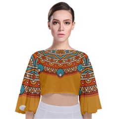 Sunshine Mandala Tie Back Butterfly Sleeve Chiffon Top