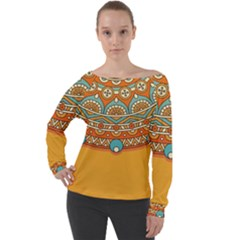 Sunshine Mandala Off Shoulder Long Sleeve Velour Top
