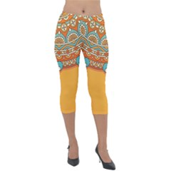 Sunshine Mandala Lightweight Velour Capri Leggings